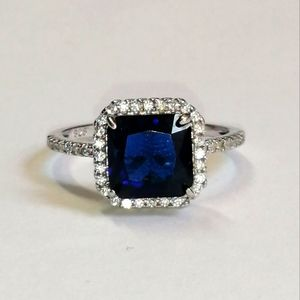 Sterling Silver & Blue Stone Ring, Size 7
